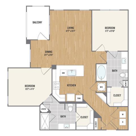 Two-Bedroom Floor Plan at Berkshire Amber, Dallas, 75248