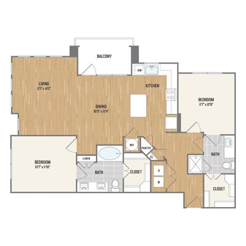 Two-Bedroom Floor Plan at Berkshire Amber, Dallas, Texas