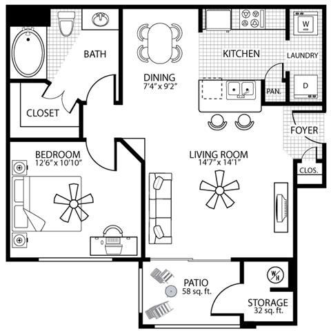 715 square Feet, 1 bedroom 1 bath, A1 Floorplan