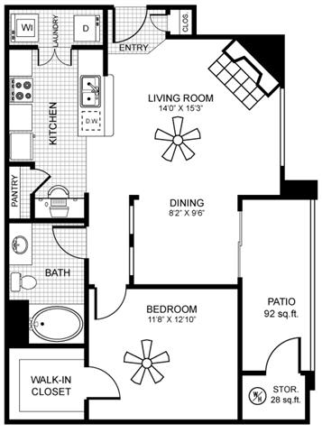 820 square Feet, 1 bedroom 1 bath, A2 Floorplan