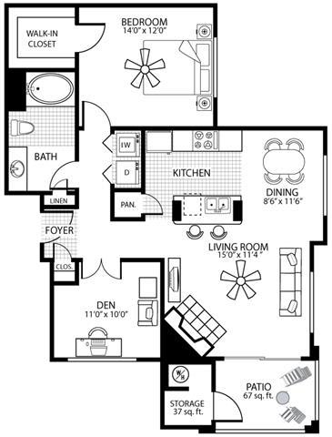 975 square Feet, 1 bedroom 1 bath, A4 D Floorplan