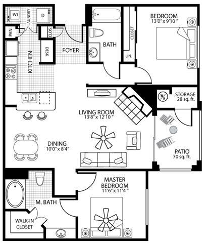 1073 square Feet, 2 bedroom 2 bath, D2 Floorplan