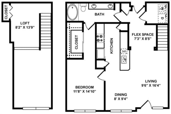 A6L Floor Plan at The Plaza Museum District, Houston, 77004