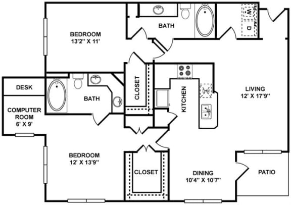 D3 Floor Plan at The Plaza Museum District, Houston, 77004