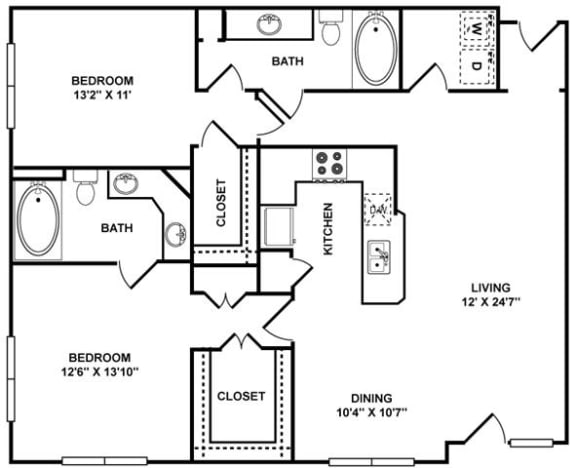 D4 Floor Plan at The Plaza Museum District, Houston, Texas