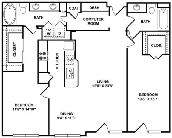 D5 Floor Plan at The Plaza Museum District, Houston