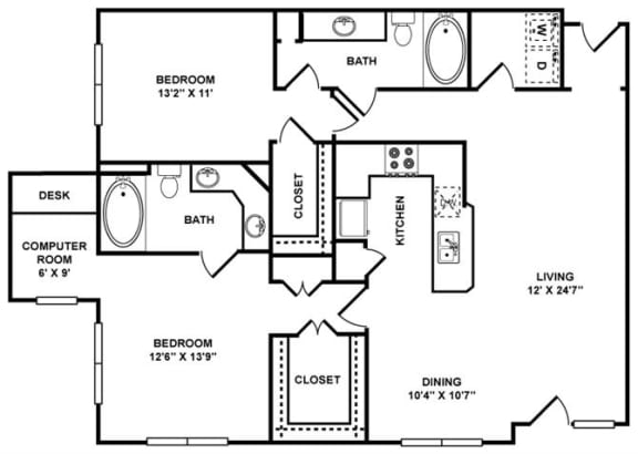 D6 Floor Plan at The Plaza Museum District, Texas