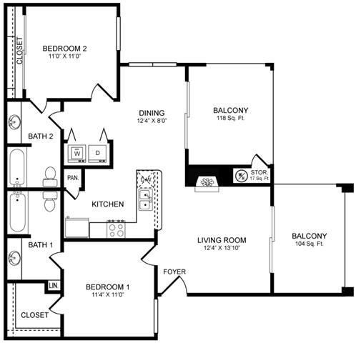 Floor Plan  D1 Floor Plan at San Marin, Austin, 78759