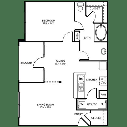 A6 Floor Plan at Stoneleigh on Spring Creek, Garland, TX
