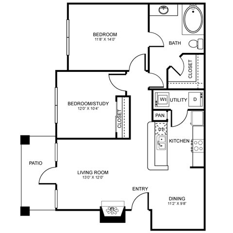 B2 Floor Plan at Stoneleigh on Spring Creek, Garland, TX, 75044