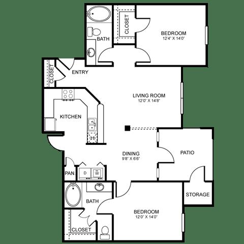 D2 Floor Plan at Stoneleigh on Spring Creek, Garland, 75044