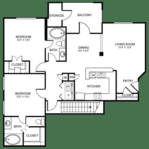 D3 Floor Plan at Stoneleigh on Spring Creek, Garland, Texas