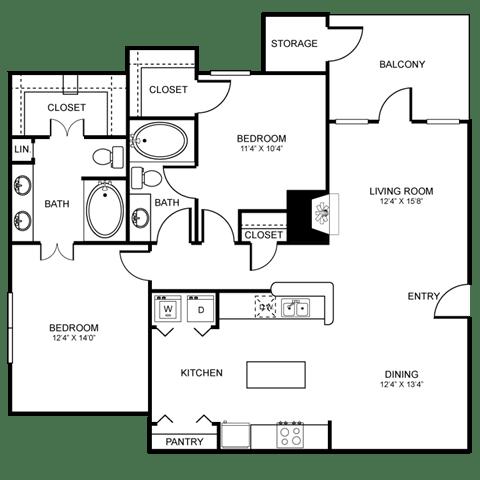 D7 Floor Plan at Stoneleigh on Spring Creek, Garland, TX, 75044