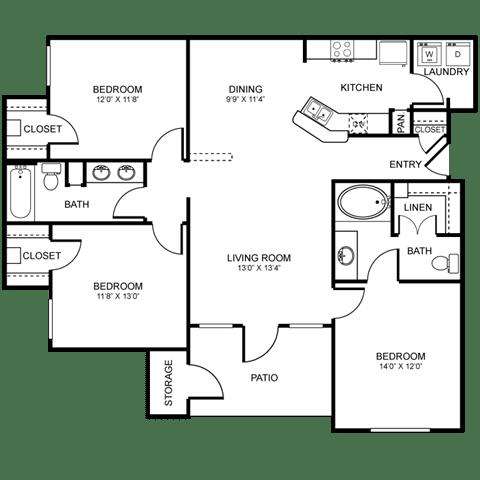 H1 Floor Plan at Stoneleigh on Spring Creek, Garland, 75044