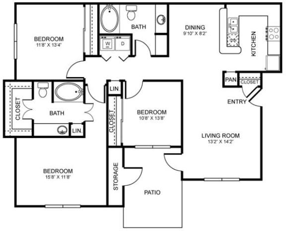H2 Floor Plan at Stoneleigh on Spring Creek, Garland, TX