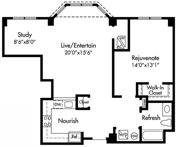 A5 Floor Plan at HighPoint, Quincy, MA