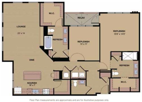 Channing Floor Plan at Berkshire Howell Mill, Atlanta, 30318