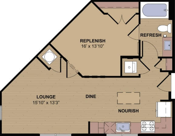 Collier A Floor Plan at Berkshire Howell Mill, Atlanta, GA, 30318