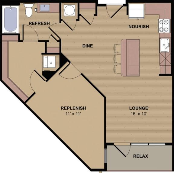 Collier B Floor Plan at Berkshire Howell Mill, Atlanta, GA
