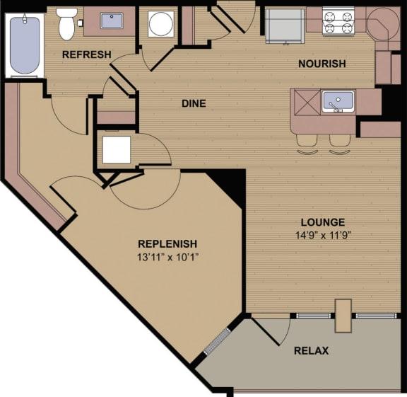 Collier F Floor Plan at Berkshire Howell Mill, Georgia