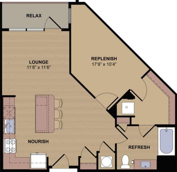 Collier HC Floor Plan at Berkshire Howell Mill, Atlanta, GA, 30318