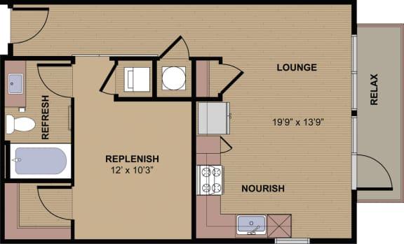 Emery Floor Plan at Berkshire Howell Mill, Atlanta, GA, 30318