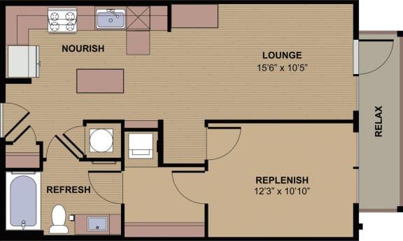 Glenbrook Floor Plan at Berkshire Howell Mill, Atlanta, 30318