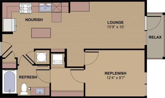 Glenbrook D Floor Plan at Berkshire Howell Mill, Atlanta