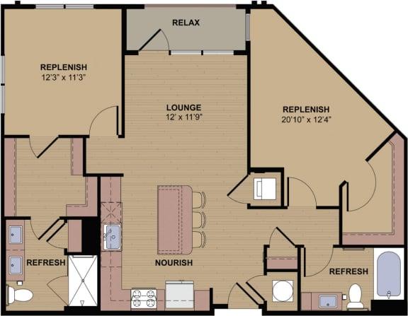 Kipling B Floor Plan at Berkshire Howell Mill, Atlanta, 30318