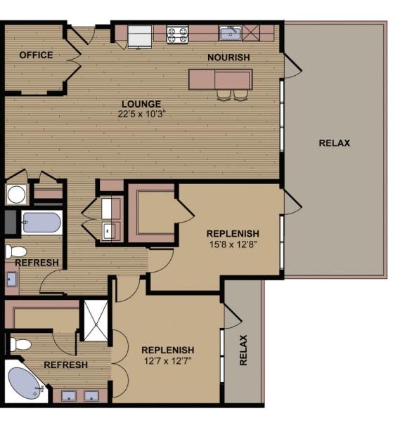 McKinley Floor Plan at Berkshire Howell Mill, Atlanta, GA