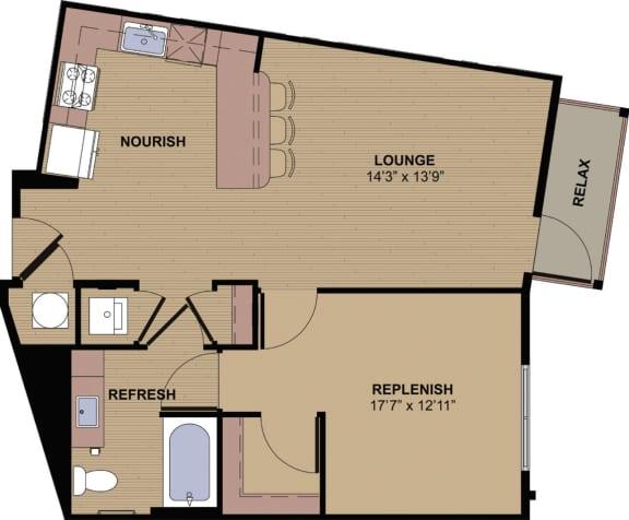 Upton A Floor Plan at Berkshire Howell Mill, Atlanta, 30318