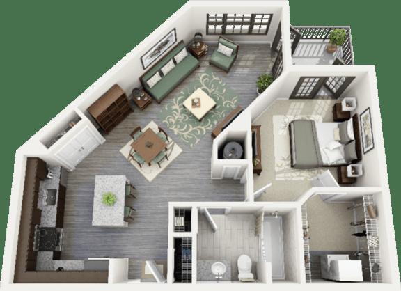Montgomery Floor Plan at Berkshire Ninth Street, Durham, North Carolina