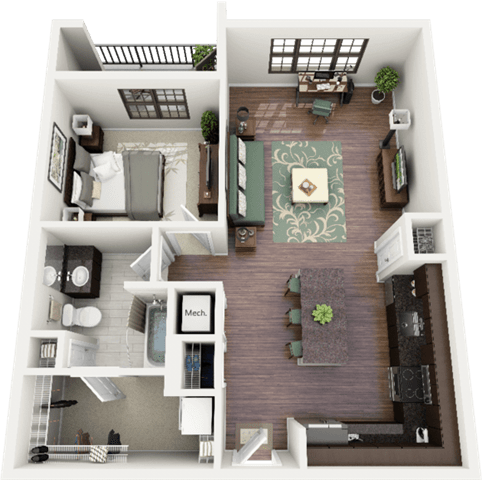 Morgan Floor Plan at Berkshire Ninth Street, Durham