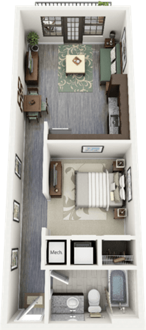 Westcott Floor Plan at Berkshire Ninth Street, Durham, NC, 27705