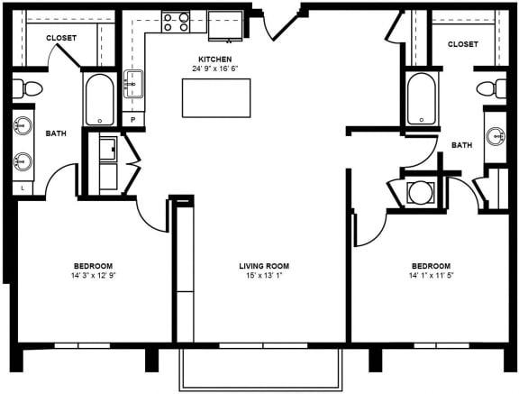 D5 Floor Plan at Berkshire Terminus, Atlanta, GA, 30305