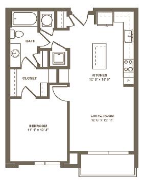A12 Floor Plan at Berkshire Terminus, Georgia, 30305
