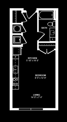 Studio 2 Floor Plan at Berkshire Terminus, Georgia