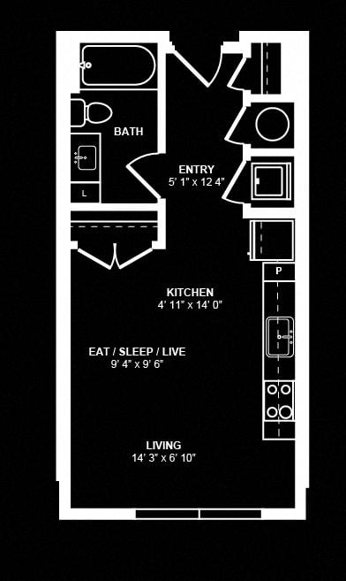 Studio 1 Floor Plan at Berkshire Terminus, Atlanta, Georgia
