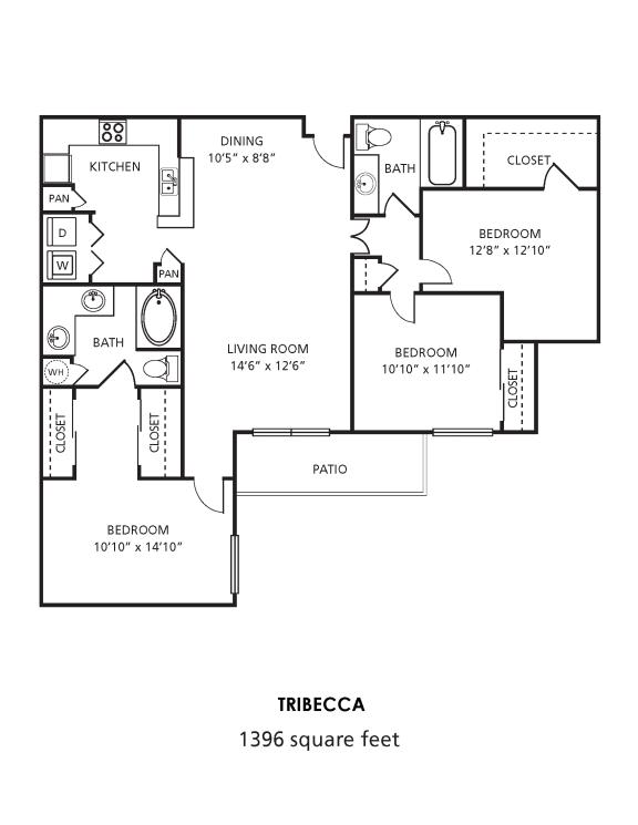H1 Floor Plan at Providence Uptown, Houston, TX, 77056