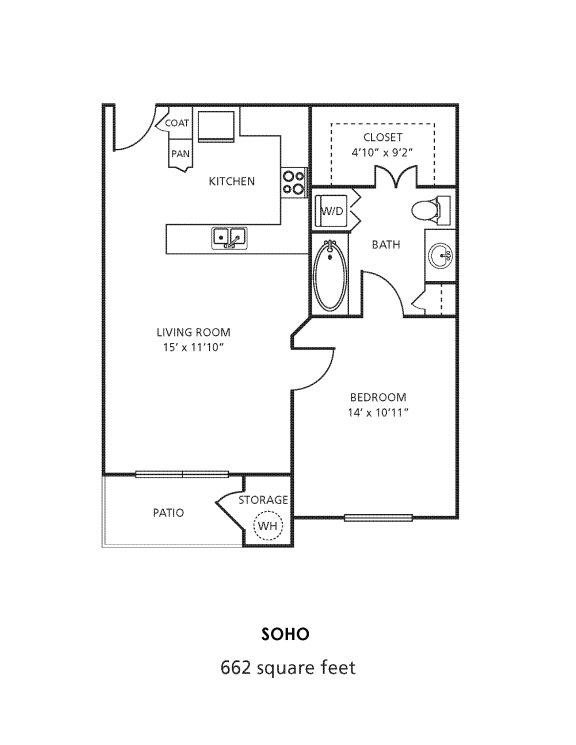 A1 Floor Plan at Providence Uptown, Houston, TX