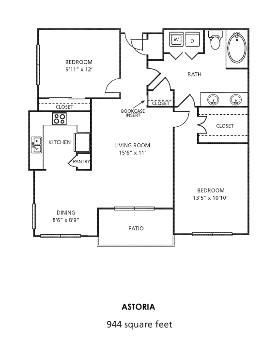D1 Floor Plan at Providence Uptown, Houston, TX, 77056