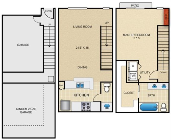 A5T Floor Plan at Estates at Bellaire, Houston, 77081