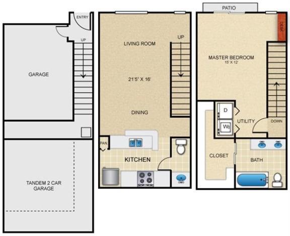A4T Floor Plan at Estates at Bellaire, Houston, Texas