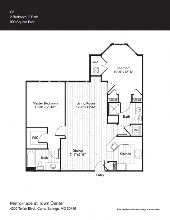 Van Ness w/ Bay Window Floor Plan at Metro Place at Town Center, Maryland
