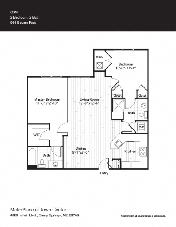 Van Ness Floor Plan at Metro Place at Town Center, Maryland, 20746