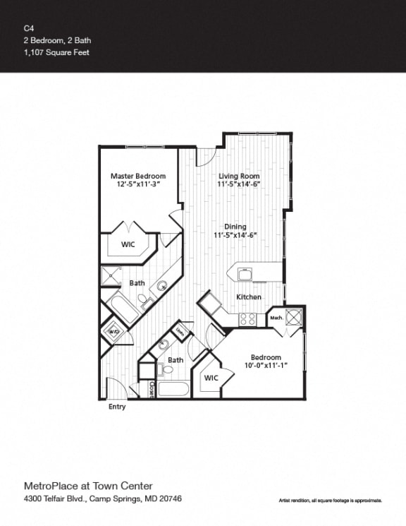 Woodley Park w/Entrance Floor Plan at Metro Place at Town Center, Camp Springs