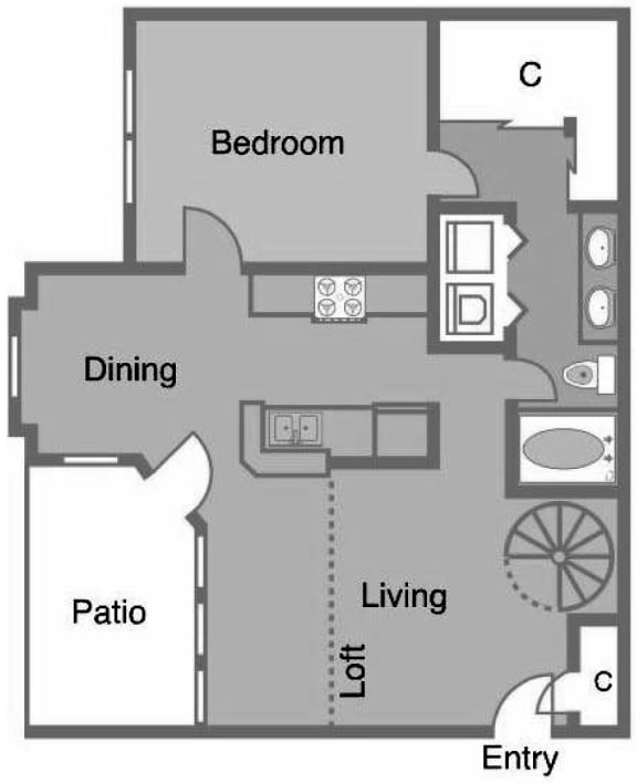 A5 R9 Floor Plan at Greenbriar Park, Texas, 77030