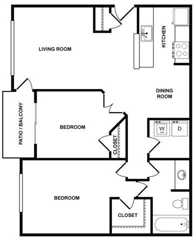 2 Bedroom 1 Bath Floor Plan at Fountains at Lee Vista, Orlando, 32822