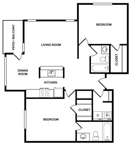 2 bedroom 2 bath Floor Plan at Fountains at Lee Vista, Orlando, Florida