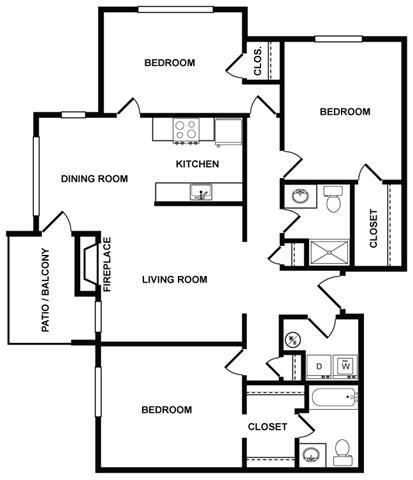 3 bedroom 2 bath Floor Plan at Fountains at Lee Vista, Orlando